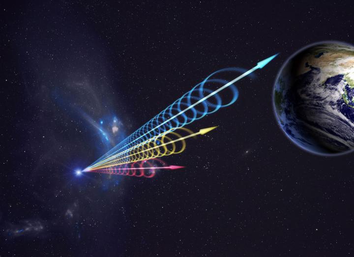 Artist Impression of a Fast Radio Burst (FRB) Reaching Earth
