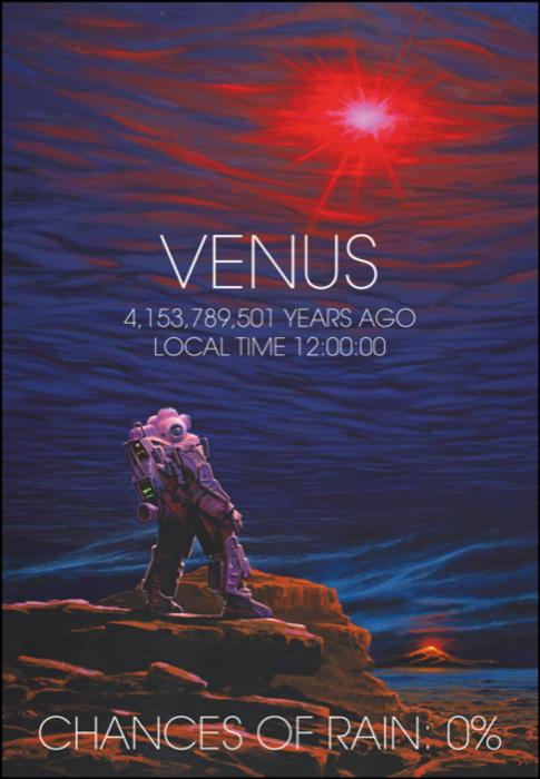 Artist's impression illustrating the lack of water on Venus