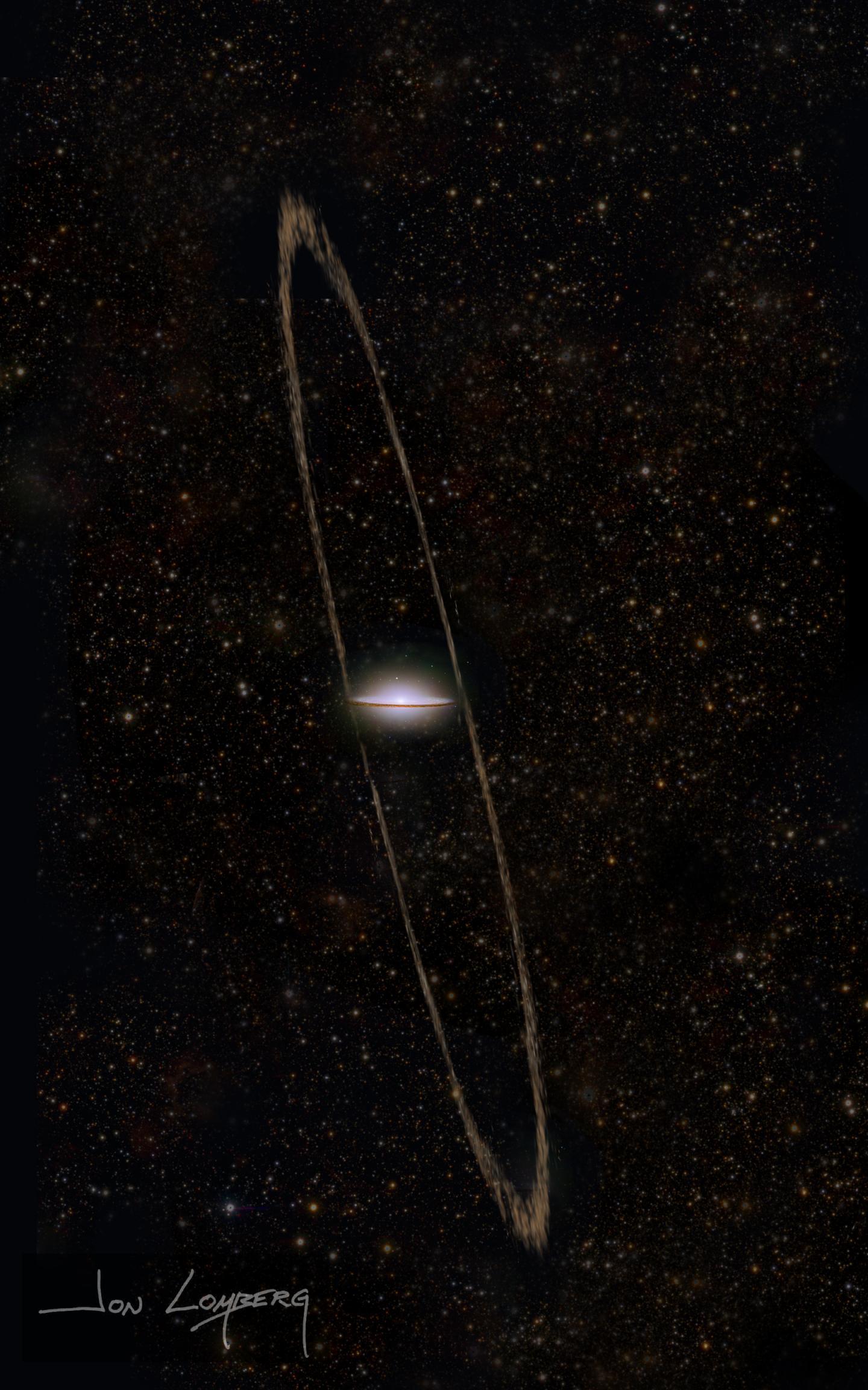 Artist's conception of the tidal stream of the Sombrero galaxy (M104)