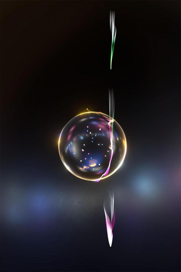 Artists Impression of Electrons, Light and a Transparent Silica Sphere on a Dark Background
