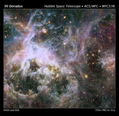 Hubble Probes Interior of Tarantula Nebula