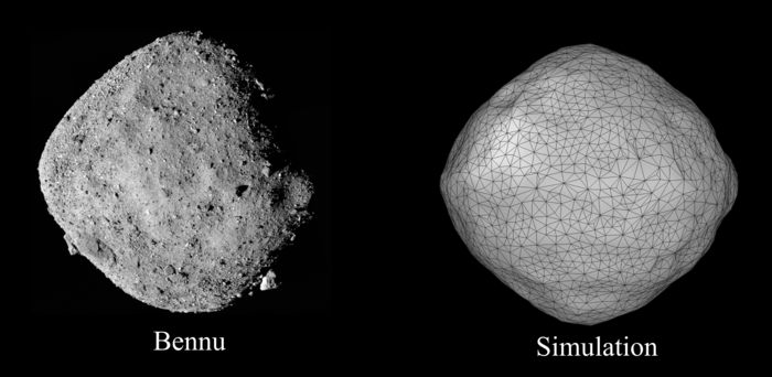 Observed and simulated shape of a rotating rubble-pile asteroid
