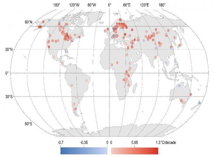 Map of Warming Lakes