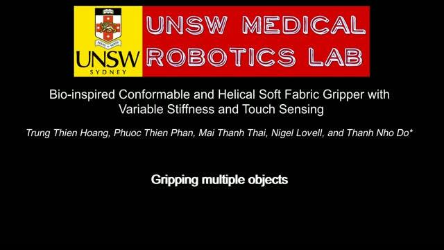 New soft fabric robotic gripper in action