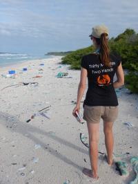 Jennifer Lavers on East Beach, Henderson Island