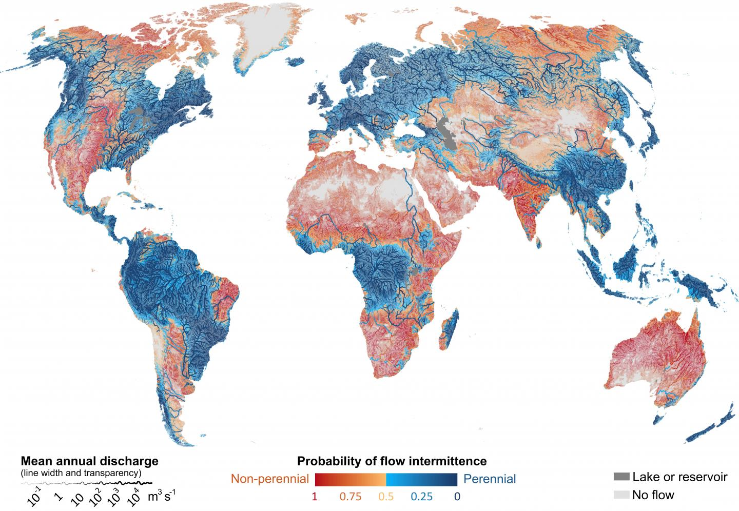 Global distribution of intermittent rivers and streams
