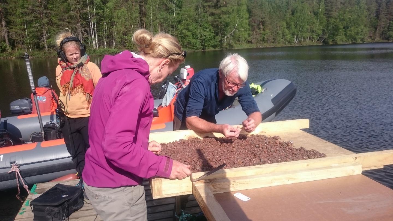Satu Koivisto and Jørgen Dencker Examining Bottom Sediments.