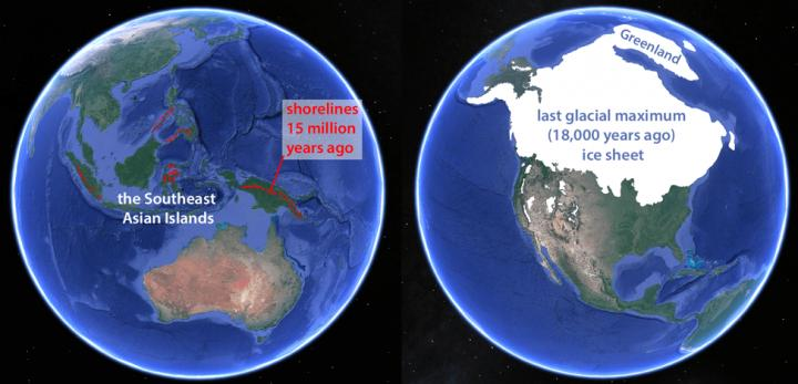 The relationship between Southeast Asian island arc and ice age