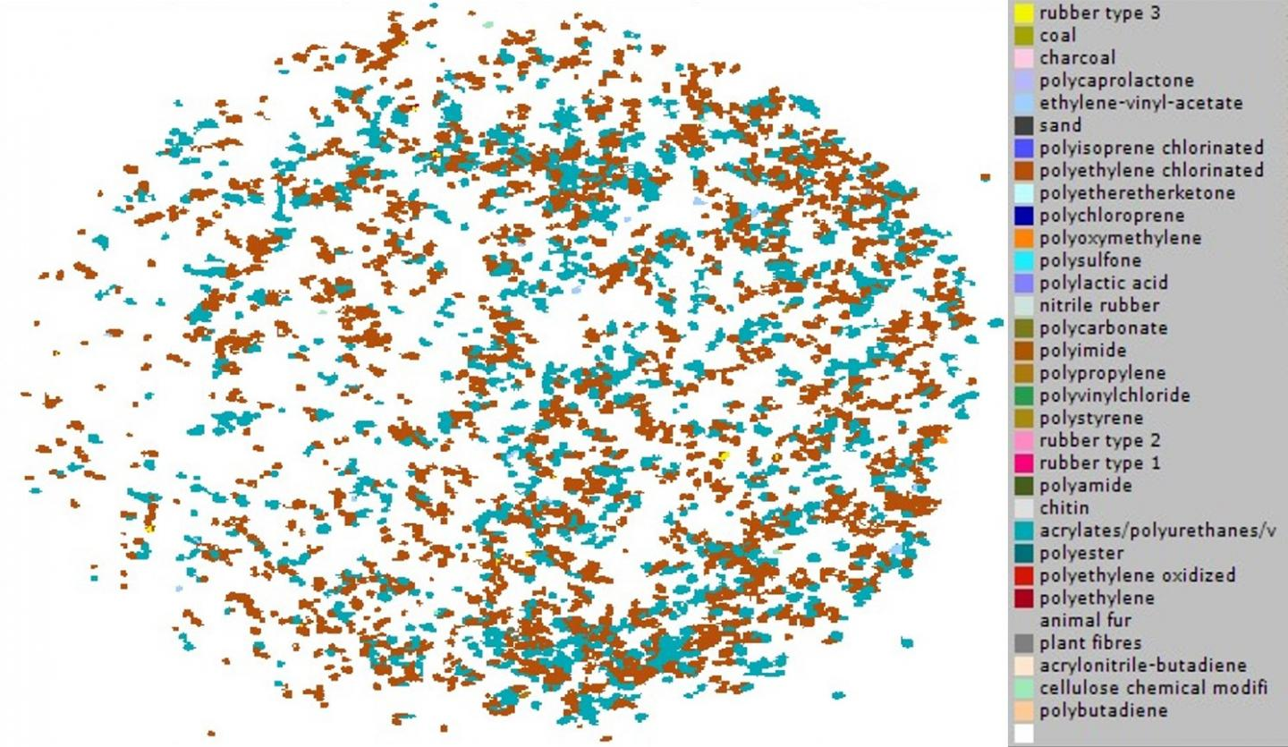 Map of the pixels representing microplastics detected from a raw sewage sample.