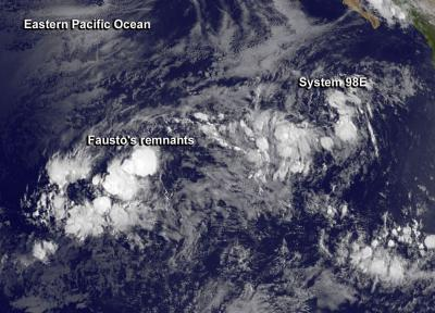 GOES-West Image of Fausto's Remnants