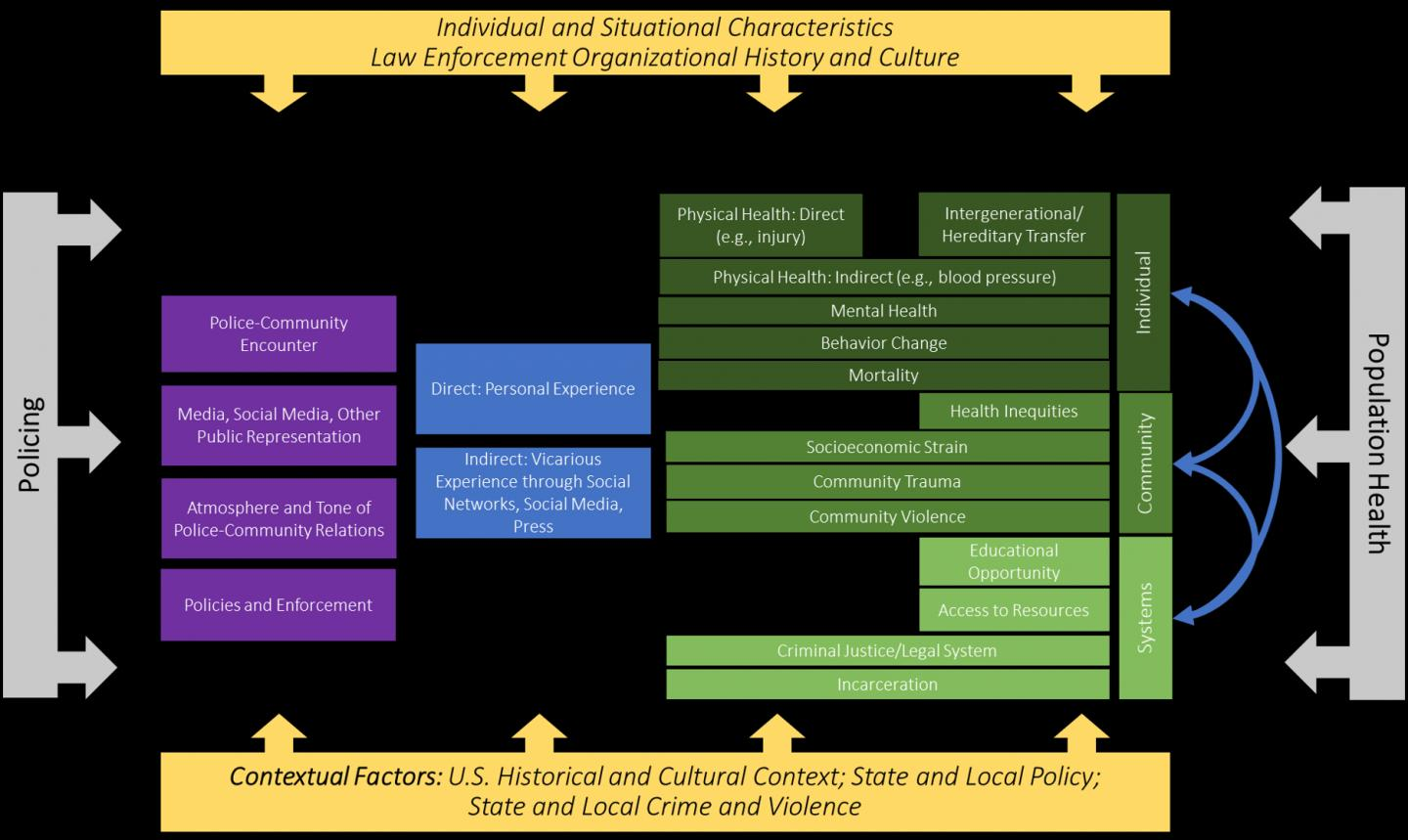 Conceptual model depicting the relationship between policing and population health.