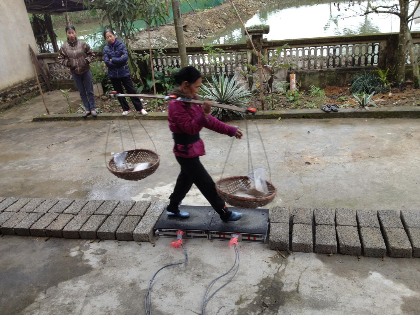 A Woman Carrying a Heavy Load on a Flexible Bamboo Pole