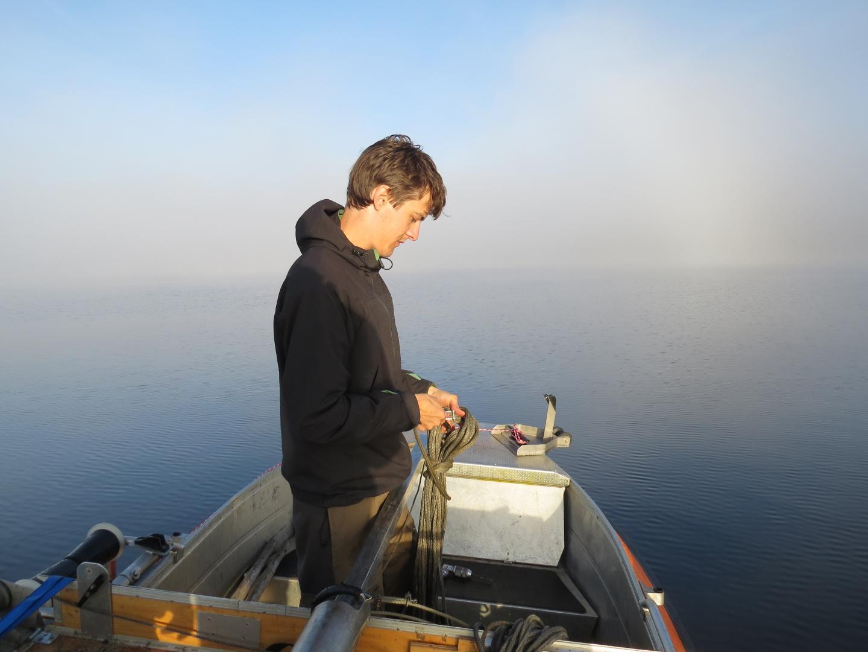 Sampling in lake Hotagen, Sweden