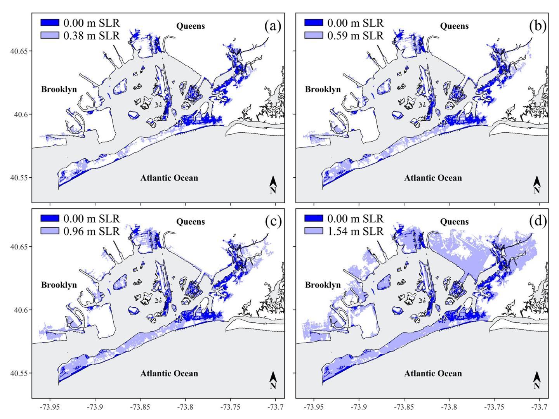 Different sea level rise scenarios in Jamaica Bay