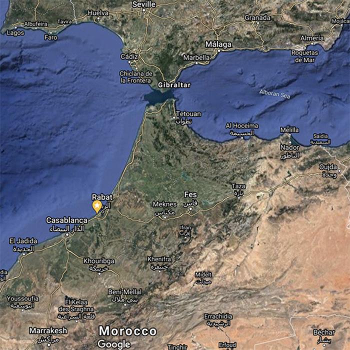 Contrabandiers Cave, Morocco, location along the coastline