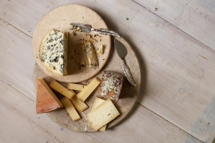 A trio of cheeses