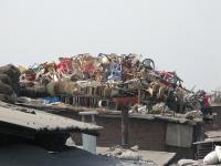 Plastic waste for recycling in Dhravi Slum, Mumbai, India