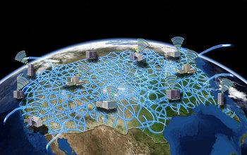 Illustration Showing the Earth and a Network of Computers