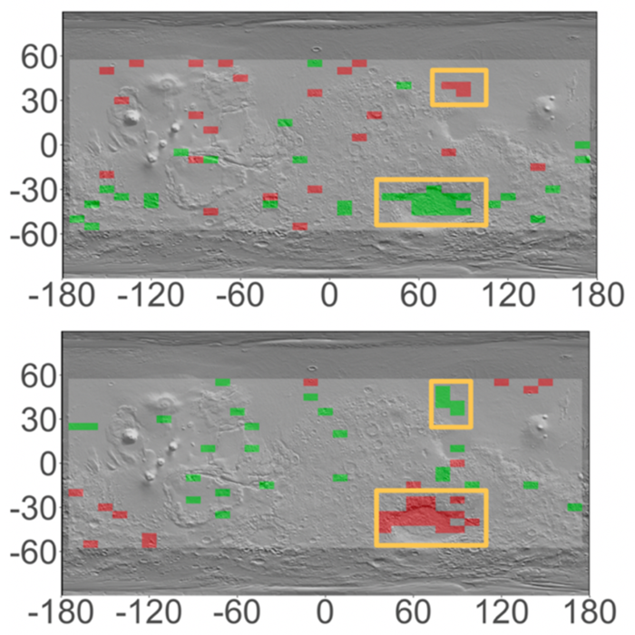 Global map of Mars with overlaid topography indicating areas with significant seasonal variations in hydrogen content during northern spring (top) and fall (bottom).
