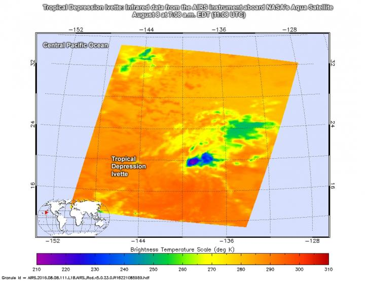 NASA Infrared Imagery Shows Tropical Depression Ivette Weakening
