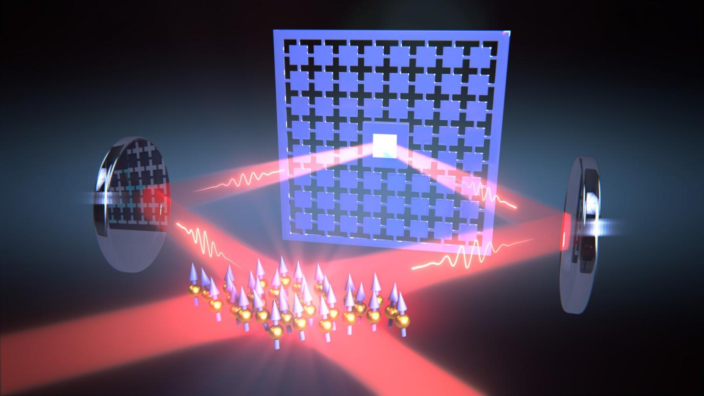 Laser Light Couples Quantum Systems Over a Distance