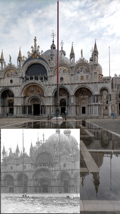 St Mark's Square flooding current and historical comparison