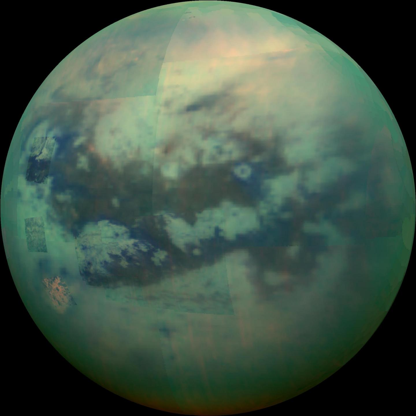 Composite Image Showing An Infrared View of Saturn's Moon Titan