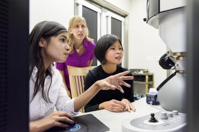 Researchers at Electron Microscope