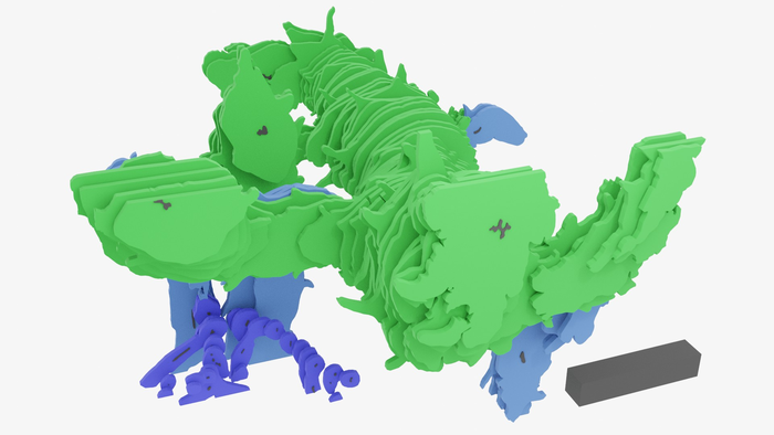 3D reconstruction of Asteroxylon mackiei made from digitally re-assembling thin slices of rock