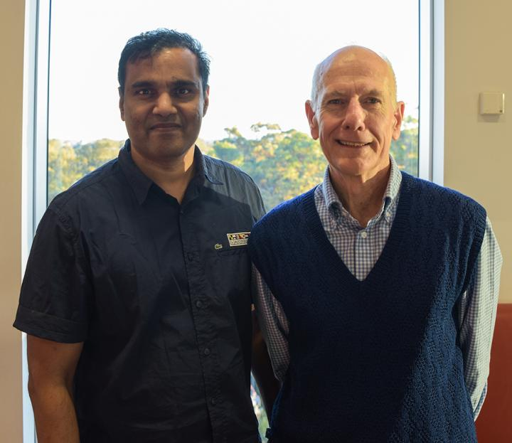 QBI's Professor Bryan Mowry with Dr Sathish Periyasamy who Analysed the Indian DNA Samples