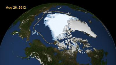 Extent of Arctic Sea Ice on Aug. 26, 2012