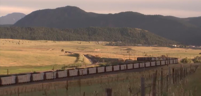 Long Coal Train Twists and Turns across Landscape