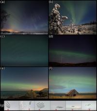 Several photos of the same aurora borealis