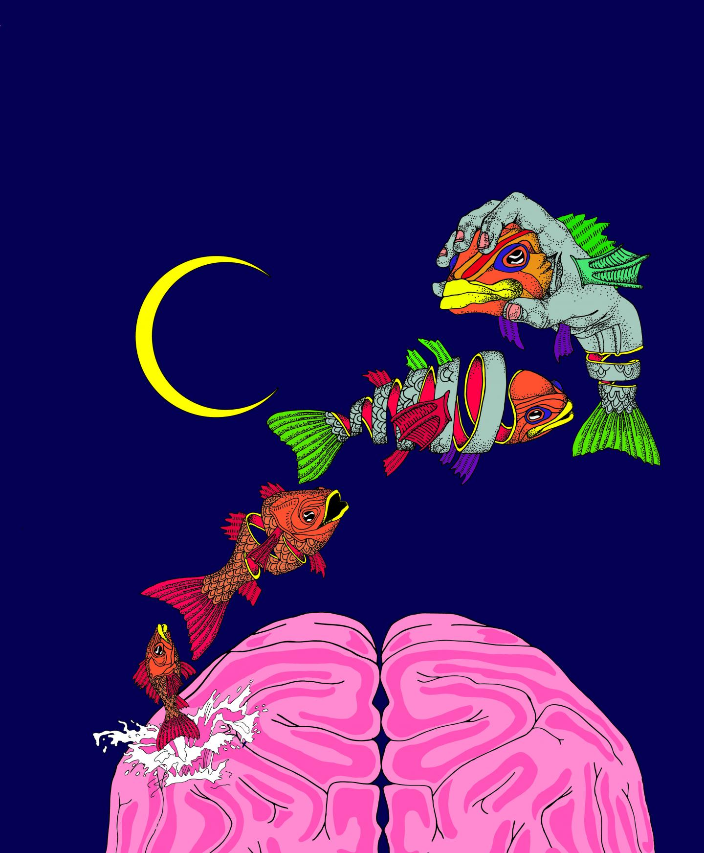 Illustration of a dream according to the overfitted brain hypothesis