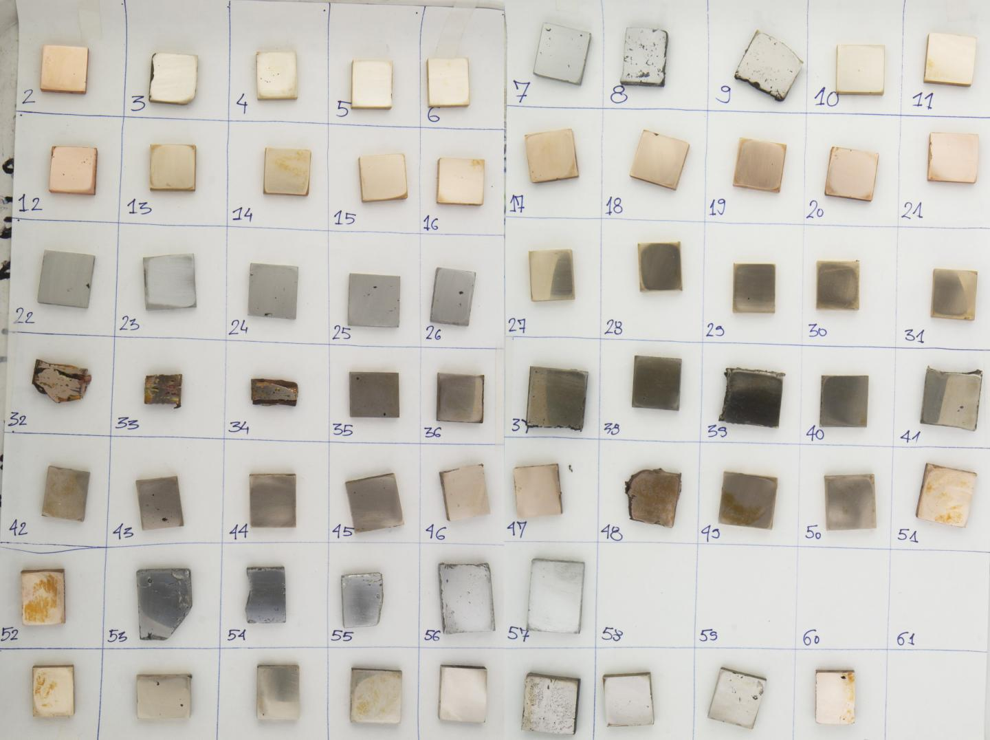 64 Metal Samples of using Variable Copper-tin-arsenic Compositions Created to use in the Study