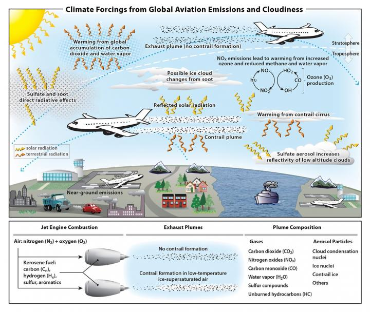 Aviation climate change impact infographic