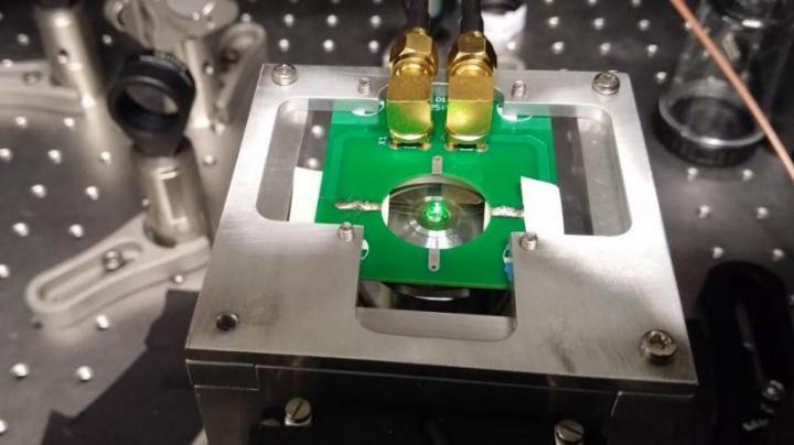 Diamond Sample Illuminated by Green Light