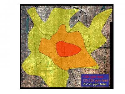 Map of Lead in Soil in Indianapolis