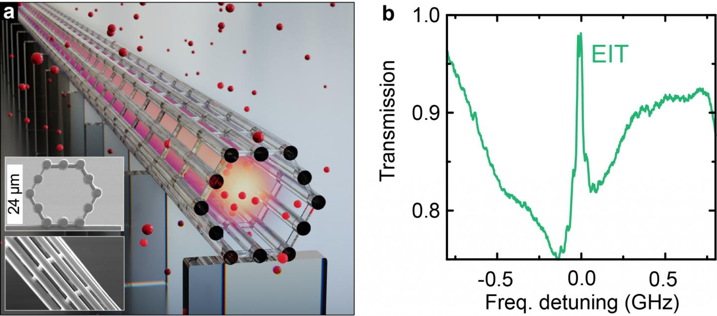 Figure | Coherent interaction of cesium atoms with a beam of light confined in an on-chip light cage