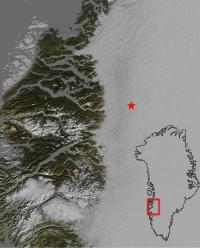 Map Showing Location of a Drained Sub-Glacial Lake in Greenland