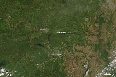 NASA Satellite View of Tornado Track North of Little Rock, Ark.