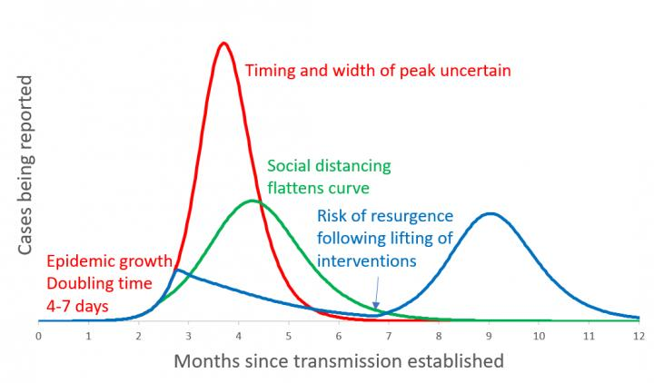 Rate of infection with different measures in place