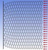 Hexagonal lattice material approaching buckling under compression
