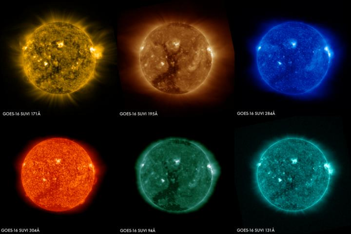 Six Images of the Sun from the GOES-16 SUVI Instrument