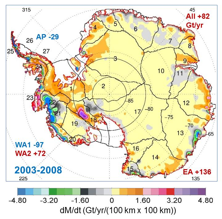 Rates of Mass Changes from ICESat 2003-2008 over Antarctica