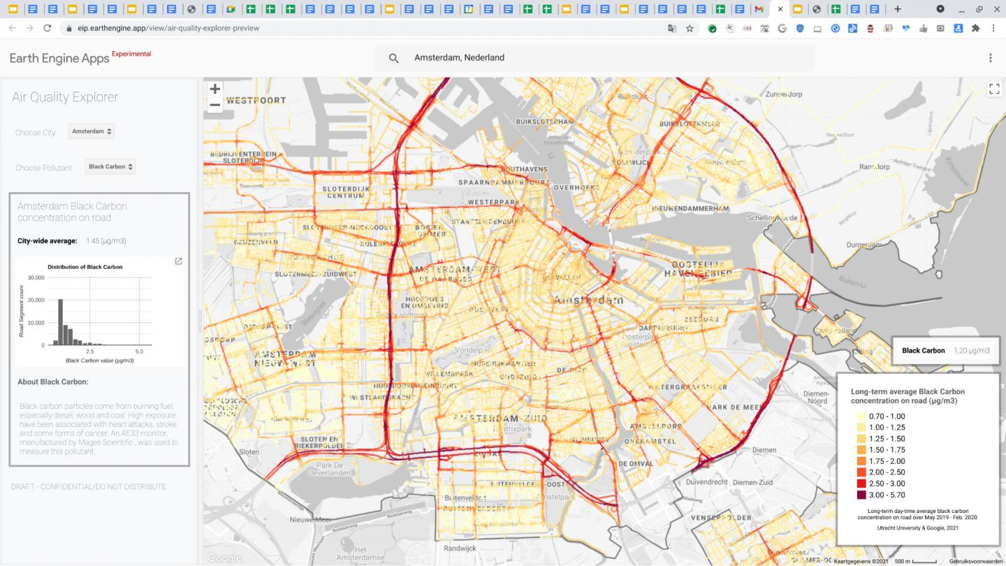 Map of Amsterdam air quality
