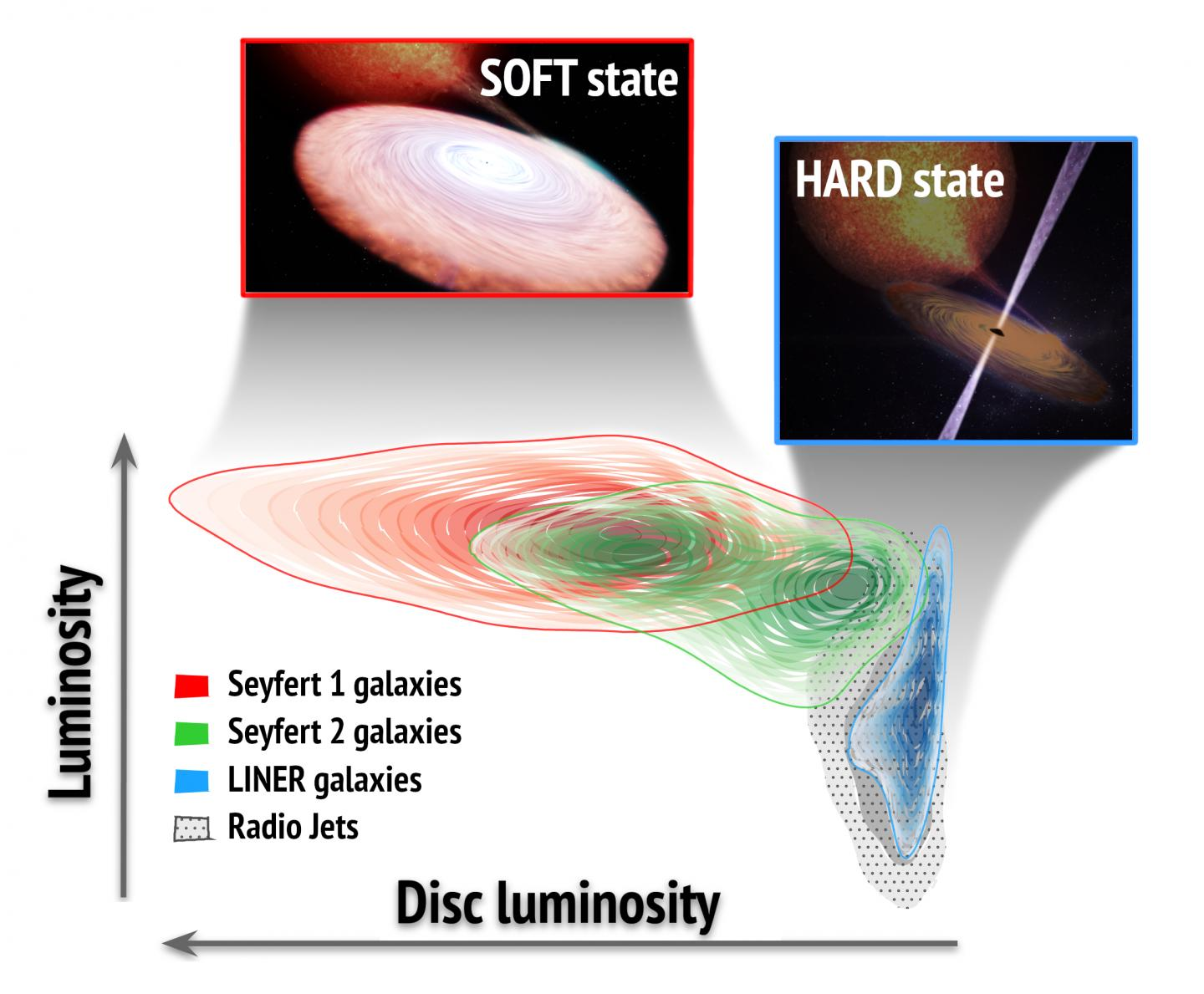 Supermassive black holes in active galaxies show accretion states similar to those seen in stellar-mass black holes in our galaxy