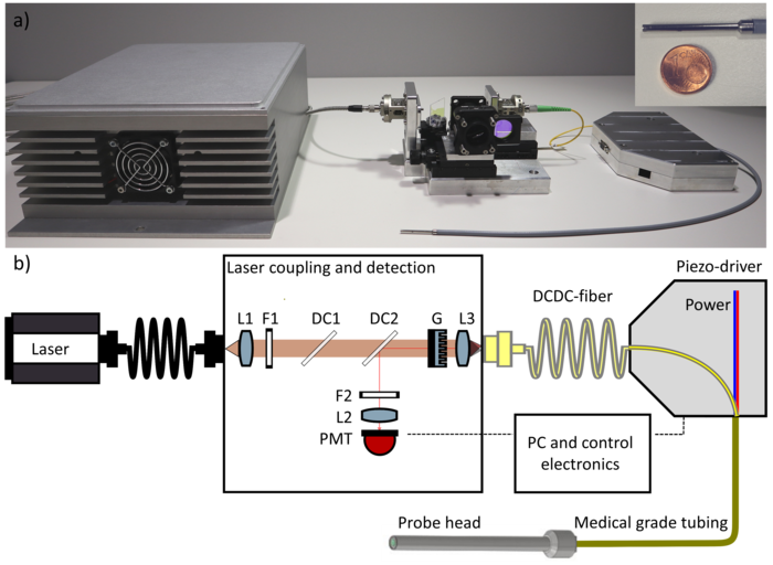 Experimenteller Aufbau eines CARS/SHG/TPEF-Multimedia-DCDC-Faser-Scanning-Experiments
