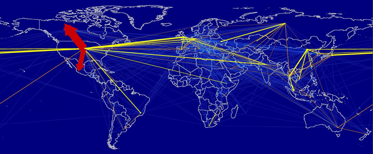 Major Bilateral Embodied Carbon Movements -- Map