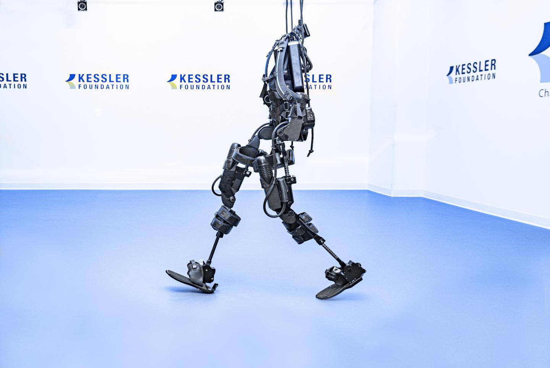An exoskeleton on display at the Reynolds Center for Spinal Stimulation at Kessler Foundation